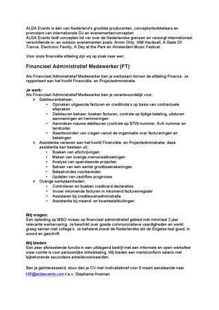 Sjabloon Cv Belgie motivatiebrief financieel administratief medewerker cv voorbeeld 2018