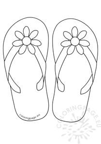 flip flops daisy flower button coloring page