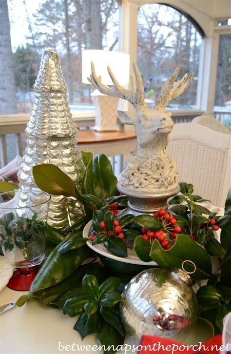 Christmas Tablescape Table Setting with Mercury glass