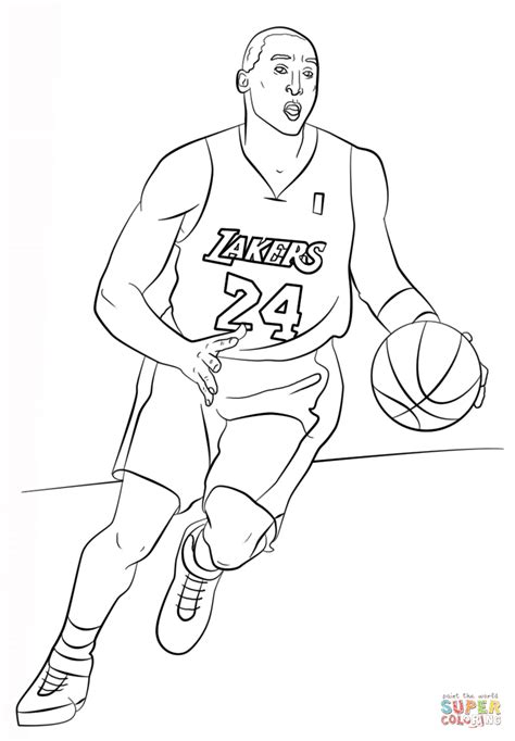 kobe bryant coloring page  printable coloring pages