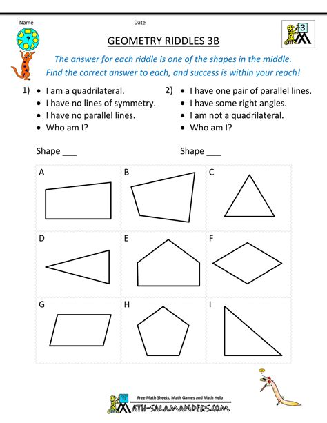 Printable Geometry Worksheets by Geometry Worksheets Riddles