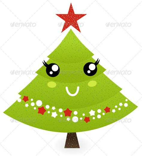cute christmas tree character isolated on white by