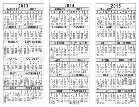 3 year calendar template 2013 2014 2015 3 year calendar