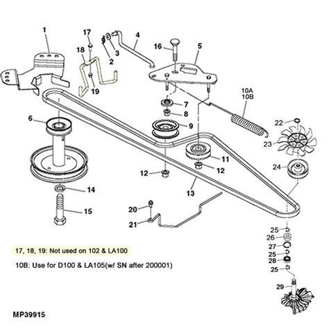 deere la100 d100 gear transmission parts diagram