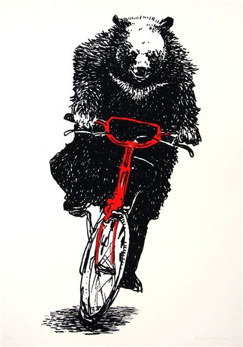 bear on a bike bear on a bike screenprint nick morley prints
