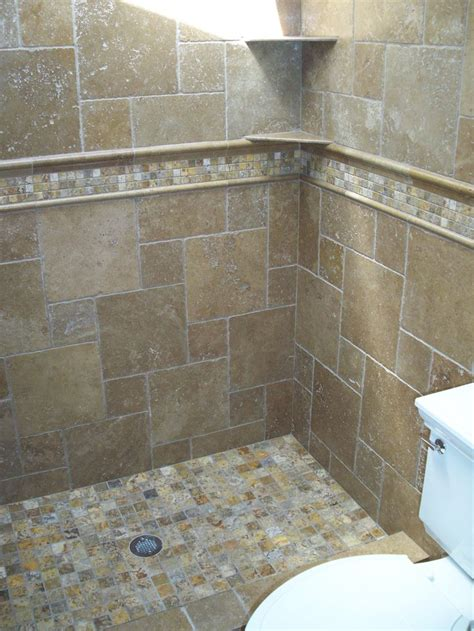 tumbled travertine bathroom autumn leaves 2x2 travertine mosaic tiles and noce tumbled