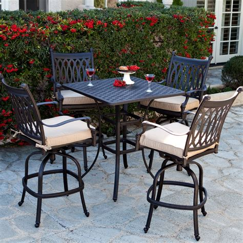 Patio Bar Table Set Belham Living Palazetto Cast Aluminum Bar Height Dining Set At Hayneedle