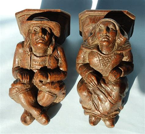Carved Corbels 19th Century Pair Carved Oak Corbels From