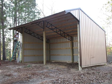 run with metal roofing 16x24 run in shelter loafing shed with steel truss and