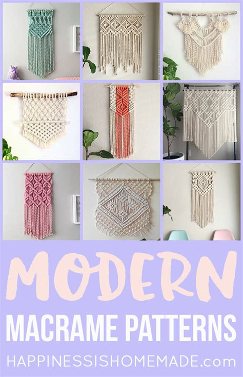 New Macrame Patterns - 11 modern macrame patterns happiness is
