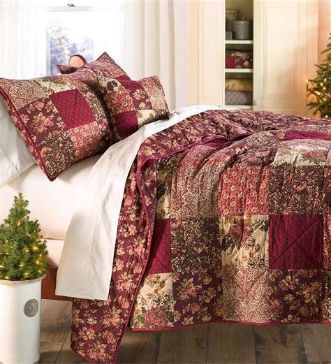 Patchwork King Quilt - king cranberry floral patchwork quilt set bedroom