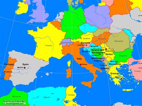 south of europe map south europe political map a learning family