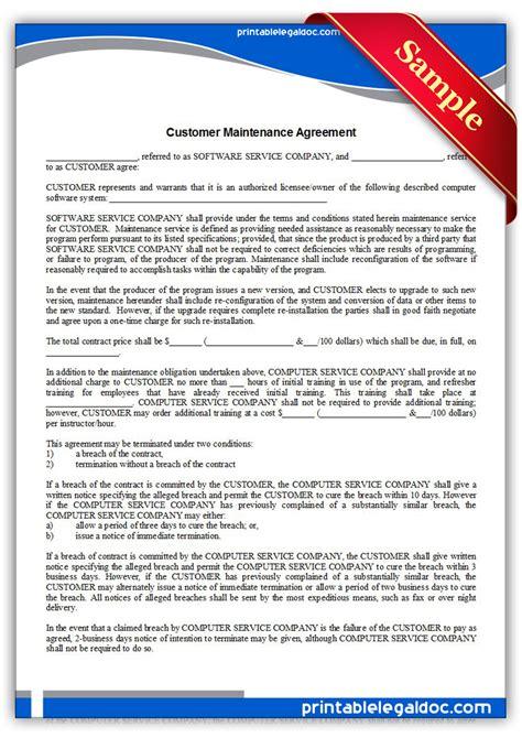 printable customer maintenance agreement form generic