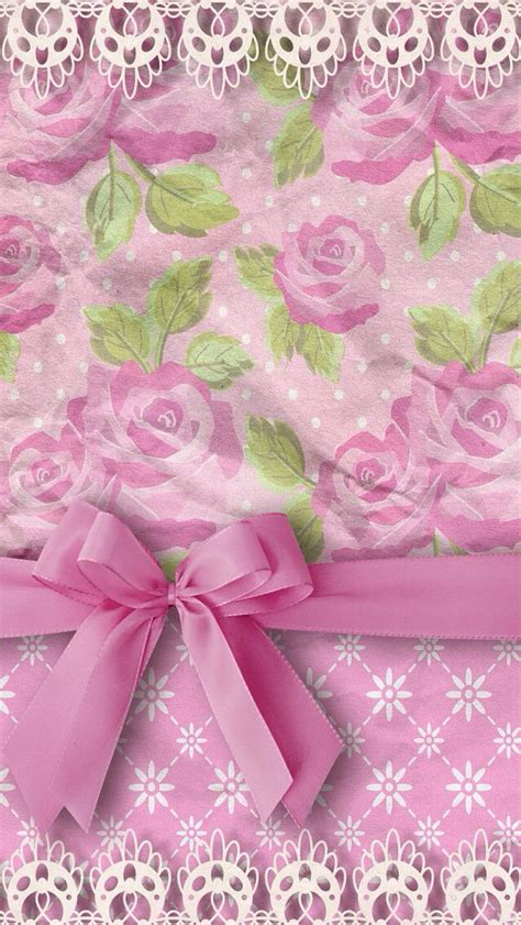 wallpaper with pink bows pink roses with bow wallpapers pinterest