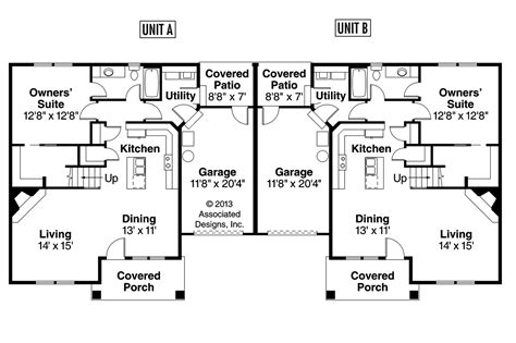duplex blueprints craftsman house plans donovan 60 007 associated designs