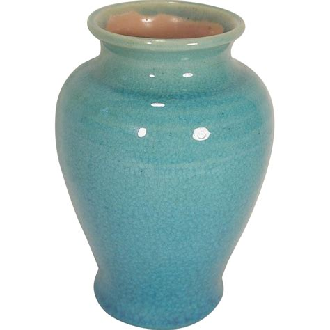 Crackle Vase by Pisgah Forest Pottery Vase Turquoise Crackle Glaze 1939