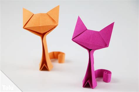 Origami Basteln Mit Papier by Origami Katze Basteln Anleitung Zum Falten Aus Papier