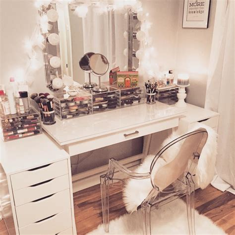 glass mirrors and glossy laminates up the posh furniture white wooden makeup desk with lights and large