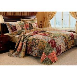 Country Patchwork - country patchwork floral cotton quilt set