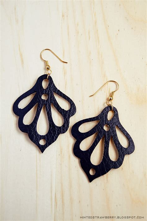 Faux Leather Earring minted strawberry diy ornate faux leather earrings using