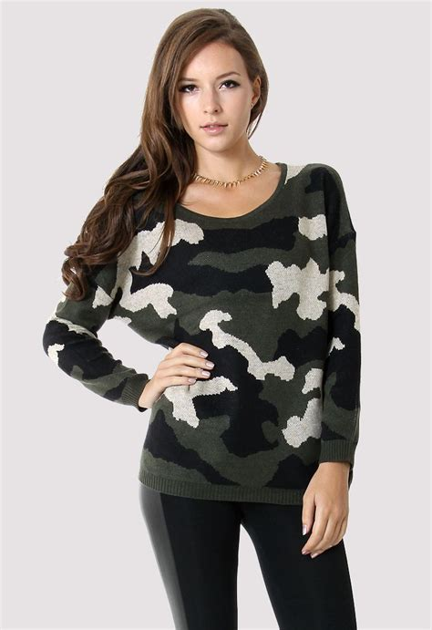 Sweater Dod Bro Jidnie Clothing camo pattern sweater tops retro and unique fashion chicwish
