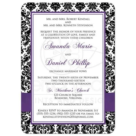Photo Template Wedding Invitation Black And White Damask Purple Invitation Template