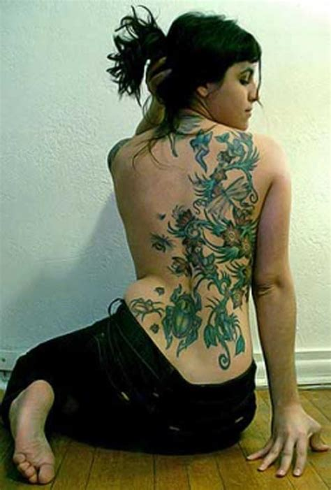 mixfashion flower lily vine back tattoo designs for girls