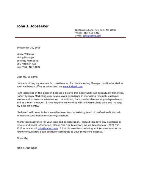 Cover Letter Exle Doc by Sle Cover Letter Doc The Best Letter Sle