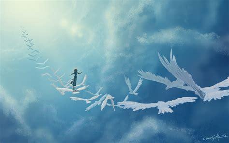 imagenes surrealistas de libertad aves mujer cielo azul libertad fondos de pantalla aves