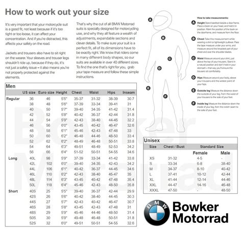 Bmw Motorrad Jacket Size Chart by Bmw Motorrad Size Chart Motorcycle Stereo Systems