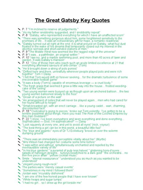 quotes of themes in the great gatsby the great gatsby revision quotes critics themes