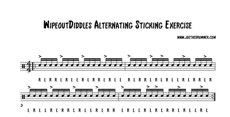 Drum Pattern For Wipeout | wipeoutdiddles sticking exercise
