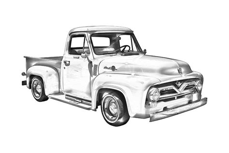 John Deere Home Decor 1955 F100 Ford Pickup Truck Illustration Photograph By