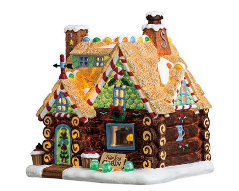 lemax collection yule log cabin battery operated