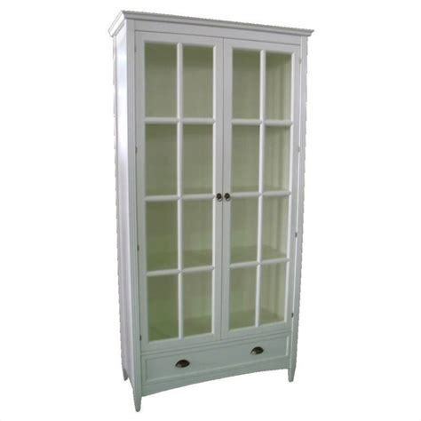 barrister bookcase with glass door in white 9124w