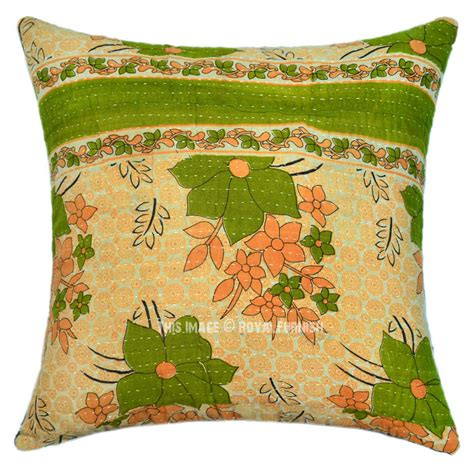 Throw Pillow Fabric by Green Kolkatha Fabric Cotton Accent Throw Pillow