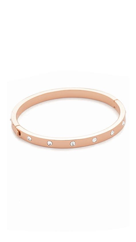 Kate spade Set In Stone Hinged Bangle in Gold (Clear/Rose Gold)   Lyst