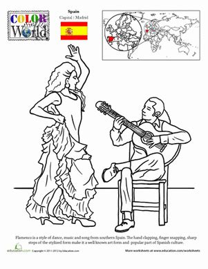 Color The World Flamenco Worksheet Education Com Flamenco Dancer Coloring Page