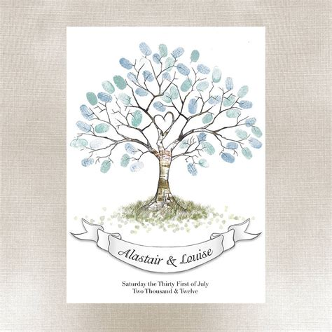 fingerprint tree card template wedding fingerprint tree by lillypea event stationery