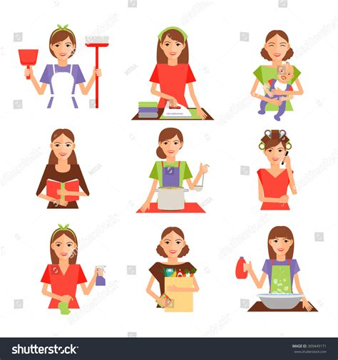 set housewife icon flat style homemaker stock vector