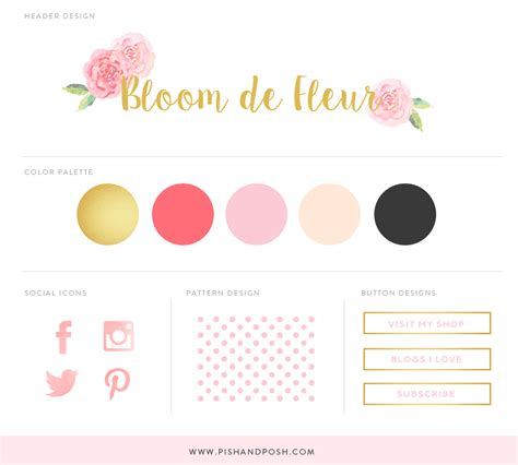 branding kit template free feminine branding kit pish and posh designs
