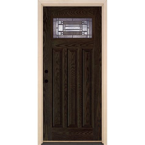 Doors Exterior Home Depot Feather River Doors 37 5 In X 81 625 In Patina Craftsman Lite Stained Walnut Oak Right
