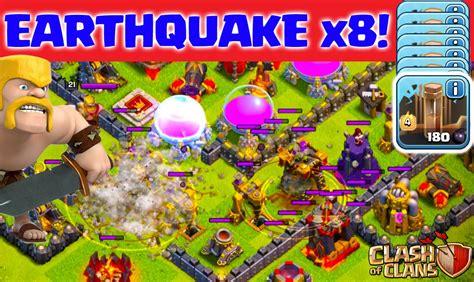 earthquake coc clash of clans eight earthquake spells in titan league