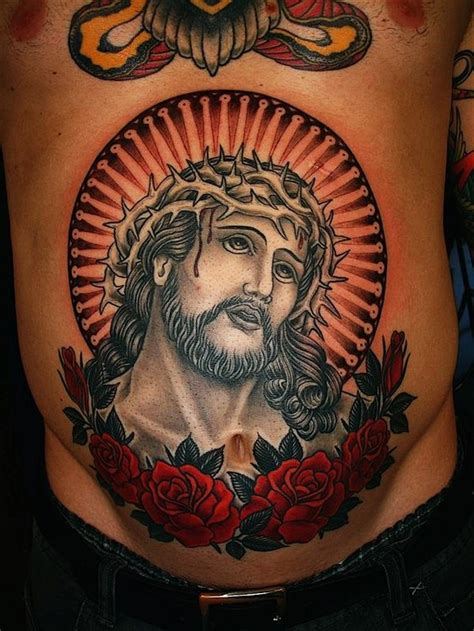 traditional jesus tattoo crown of thorns jesus school religious best