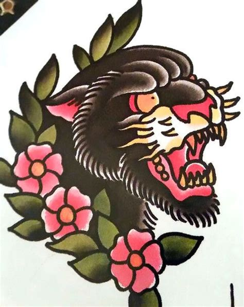 panther face tattoo designs traditional panther design