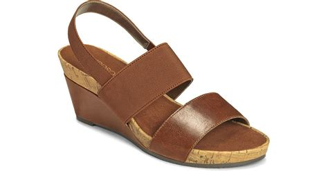 light brown wedge heels aerosoles green light slingback wedge sandals in brown lyst