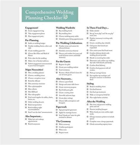 29 Wedding Checklist Templates Free For Word Excel Pdf Wedding Checklist Template Pdf