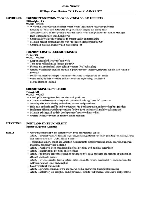 sound design cv template audio engineer cv template images certificate design and