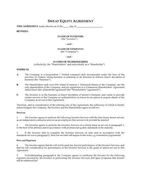 45 Advanced Business Equity Share Agreement Template Gu X46191 Edujunction Business Equity Agreement Template