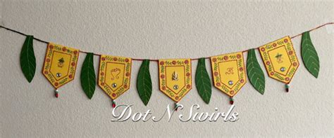 Handmade Torans - handmadecard stock toran with mango leafs decorated with